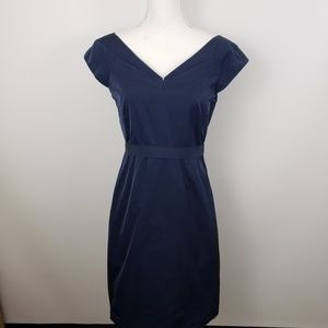 Theory sz 8 Sheath Dress V Neck Cap sleeve stretch